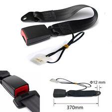 370MM Car Front Seat Belt Buckle Socket Plug Extender Black With Warning Cable