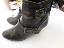 Dollhouse Ankle Boots Black Leather Heels Young Lady (Size 6.5) Used** L@@k