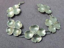 "Vintage NYE Sterling Silver Link Bracelet Flowers Hinged Clasp 12.3 G 7.5"""