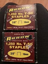 "Vintage Genuine Arrow T-50 3/8"" 9.52Mm 1250 Stainless Steel Staples 2 Full Boxes"