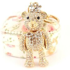 Gold Crown Teddy Bear Fashion Keychain Crystal Charm Cute Animal Gift 01165