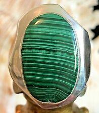Malachite Gemstone Unisex Ring Oval Shaped Modern .925 Sterling Silver Size 8.5