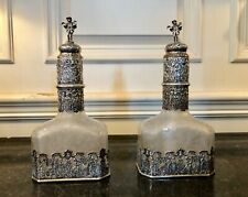 Pair of 18th Century German Silver Encased Etched Glass Decanters Augsburg 1781