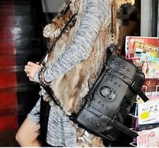Fashion Women Pu Leather Bag Punk Skull Rivet Shoulder Handbag School Satchel