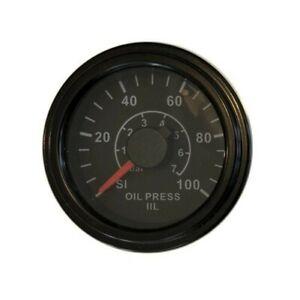 """Oil Pressure Gauge, 2""""/52mm, programmable, 0-100 psi, black/black, LED, 001-O-BB"""