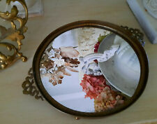 """New listing Antique Round Footed Dresser Perfume Mirror Tray 8"""" w/Bows Hollywood Regency"""