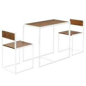 Table 2 Chairs Metal Bar Set Kitchen Dining Breakfast Seat Rustic Furniture Unit