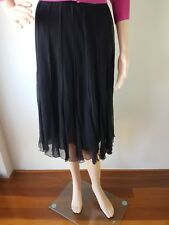 WITCHERY Ladies Sheer Silk Lined Knee Length Skirt Size: 12 EC