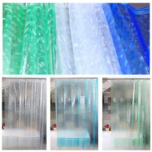 Transparent Waterproof Bathroom PEVA Plain Plastic Shower Curtain With Hook Ring
