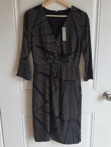 NWT J Crew 365 Womens Black Kaleidoscopic Dot Silk Twist Front Dress Size 0 READ