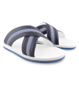 Zilli Men's Marine Blue Karung Leather Sandals Rubber Sole Leather Lining