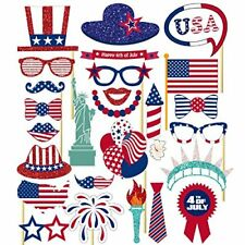 26PCS 4th Of July Independence Day Party Masks Decorations Photo Booth Props