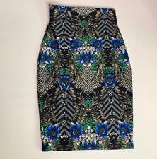 Arden B Womens Pencil Skirt Blue Gray Floral Mini Stretch Elastic Waist XS