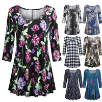 Fashion Women Casual Oversized Floral Tunic Shirt 3/4 Sleeve O-Neck Tops Blouse