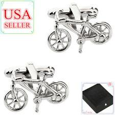 Fashion Men Cufflinks Silver Bike Bicycle Cuff Links With Gift Box