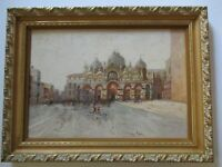 TORRE SIGNED IMPRESSIONISM PAINTING VENICE VINTAGE OIL LANDSCAPE ITALY PIAZZA