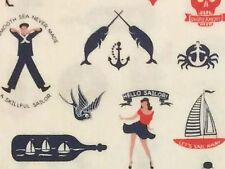 RPFFT73C US Navy Sailor Ship Bottle Sail Sea Anchor Tattoo Cotton Quilt Fabric
