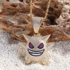 Hip Hop Jewelry Mask Gengar Necklace New Arrival Pokemon Pendant Cubic Zir 51*39