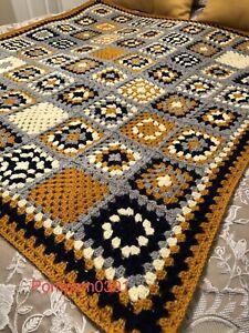 CROCHET Handmade Granny Blanket, Throw, Grey, Mustard, Navy Blue & Cream. Gift
