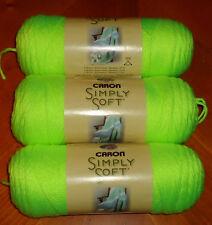 Caron Simply Soft Yarn Lot Of 3 Skeins (Neon Yellow #9773) 6 oz.