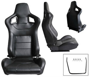 2 BLACK PVC LEATHER RECLINABLE RACING SEATS FOR ALL FORD *****