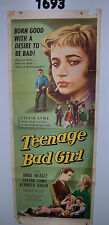 TEENAGE BAD GIRL Original Movie Poster  Insert 1957