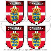 "DENMARK Danish Shield 50mm/2"" Bumper-Helmet Stickers x4"