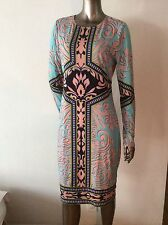 NWOT Hale Bob long sleeves jersey geometric abstract dress size L shift paisley