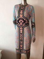 NWOT Hale Bob long sleeves jersey geometric abstract dress size L shift paisley