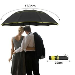 Umbrella Wind Rain Resistant Double Strong Big Folding Non Automatic Accessories