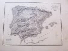 España.Mapa grabado  original.Bory St Vincent.Paris 1812