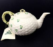 Belleek Shamrock Ware China Basket Weave Teapot Tea Pot 7th Mark