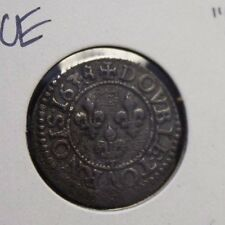 French Colonial 1638 E Double Tournois Louis XIII very nice detail corrosion