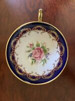 AYNSLEY Tea Cup & Saucer Pattern #2146  Cobalt Blue Scalloped Gold Filigree