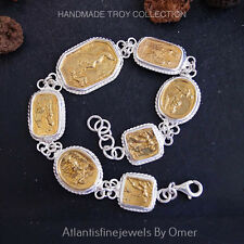925k Sterling Silver Coin Bracelet By Omer Handmade Ancient Roman Art Jewelry