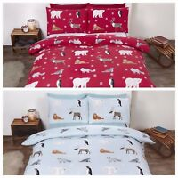 Flannelette Duvet Cover Set,  - ANIMALS. Red or Ice.