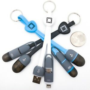 Dual Keychain USB Cable For Apple/Iphone/Micro USB/Ipad Charger Cable - USA MADE
