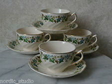 set 4 VTG Cups and Saucers Johnson Bros Old Chelsea Ivy Leaf Pattern  1940s