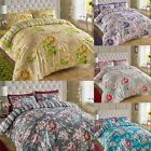 200TC Cotton Floral Reversible Print Duvet Quilt Cover Double King Bedding Set