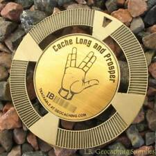 """Beam Me Up No Geocaches Here! 2.5/"""" GeoMedal Geocoin, Ant. Gold Colour"""