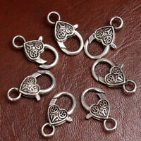 20 pcs Antique Silver Heart Lobster Clasps for DIY Jewelry Findings Making