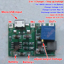 USB 3.7V Lithium Li-ion Battery Charger Module 4.2V Boost Step Up 5V 9V 12V 24V