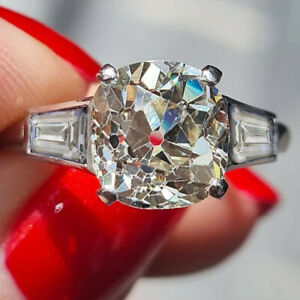 2.00 Ct Cushion Cut Old Mine Moissanite Engagement Ring 14k White Gold Plated