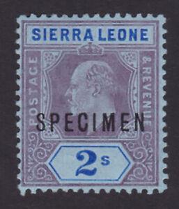 Sierra Leone. 1908. SG 109s, 2/- purple & bright blue/blue, specimen. Fine mint.