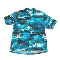 RJC Hawaiian Shirt Mens Large Aloha Evening Palms Blue Short Sleeve Camp