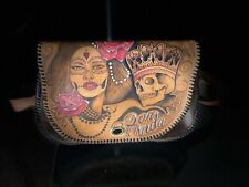 Genuine Leather Purse, Hand Painted Tooled Carved Day of The Dead Sugar Skull