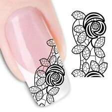 Nail Art Stickers Water Decals Transfers Black Lace Rose (XF1343)