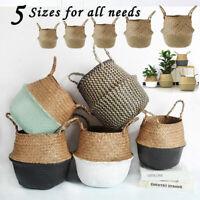 1Pc Foldable Seagrass Rattan Basket Plant Pot Storage Laundry Basket Home Decor