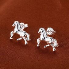 Women Lady Silver Tone Cute Horse Earrings Xmas Gift Wedding Party Stud Jewelry