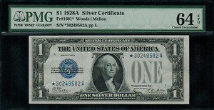 "1928A $1 Silver Certificate FR-1601* - ""STAR NOTE"" - Graded PMG 64 EPQ"